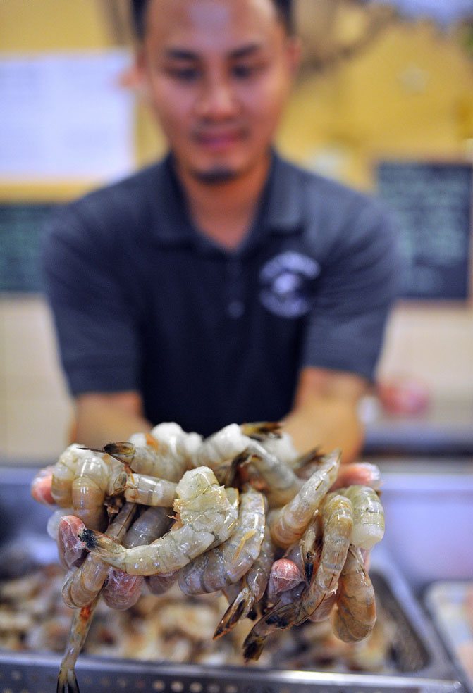 Phuong Le Scoops up a pile of fresh shrimp