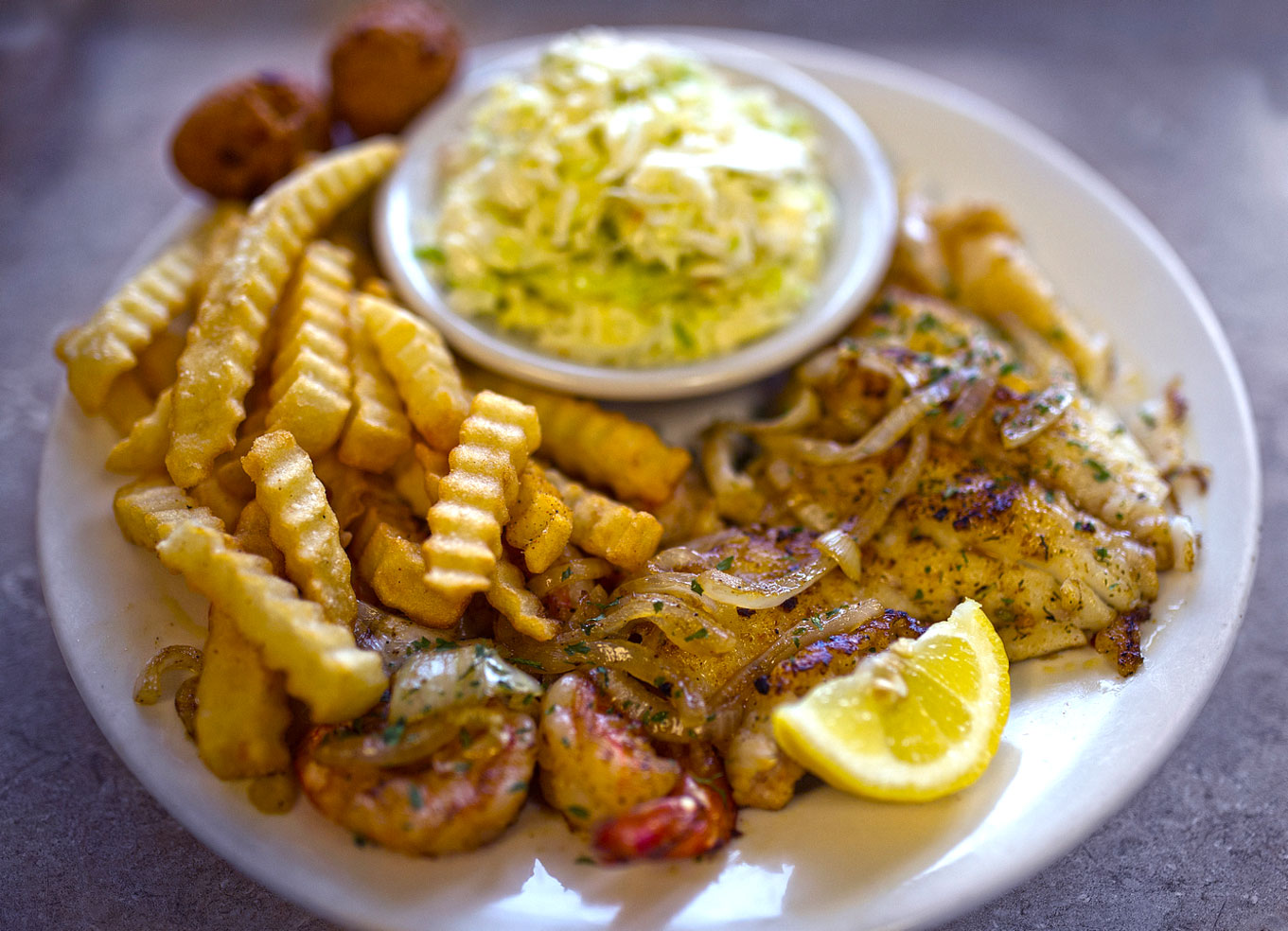 Grilled Grouper and Shrimp Plate